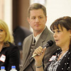 Emerald Elementary School principal candidates Victoria Kaye, right, Keith Ouweneel, center, and Samara Williams answer questions from audience members during  the community forum at the school on Thursday.<br /> March 22, 2012 <br /> staff photo/ David R. Jennings