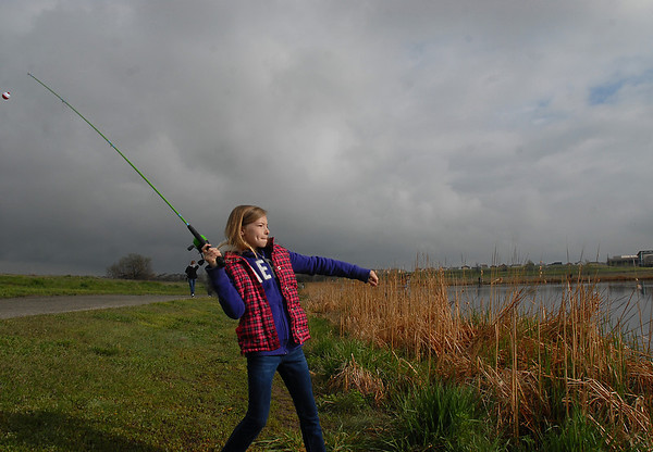 Natalie Levenson, 12, casts a line during the Fishing Derby sponsored by the Colorado Division of Wildlife and Broomfield Open Space Foundation at Tom Frost Reservoir.<br /> May 14, 2010<br /> Staff photo/ David R. Jennings