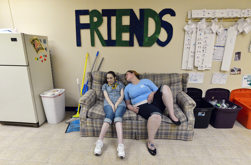 F.R.I.E.N.D.S. of Broomfield staff member Victoria Laverty, right, chats with Katheryn Hynek in a multipurose room on Friday.  F.R.I.E.N.D.S. is breaking ground on a new center this week.<br /> May 25, 2012 <br /> staff photo/ David R. Jennings