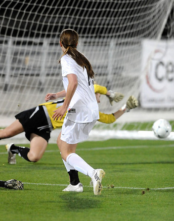 FAIRVIEW<br /> Fairview's Cassidy Larson watches as her goal goes into the net against Arapahoe.<br /> Photo by Marty Caivano/Camera/May 26, 2010