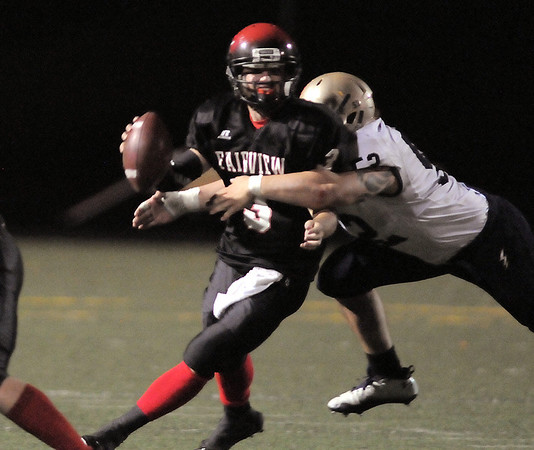 Legacy's Austin Yurko sacks Fairview's quarterback Michael McVenes during Saturday's game at Reicht Field.<br /> October 1, 2011<br /> staff photo/ David R. Jennings