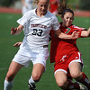 FVHS04<br /> Fairview's Annie Stuller blocks Kathleen Doll of Smoky HIll.<br /> Photo by Marty Caivano/Camera/May 18, 2010