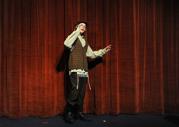 Ausitn Baltzer, Tevya, sings a solo during rehearsal of  Broomfield Heights Middle School production of Fiddler on the Roof on Thursday.<br /> <br /> March 15,  2012 <br /> staff photo/ David R. Jennings