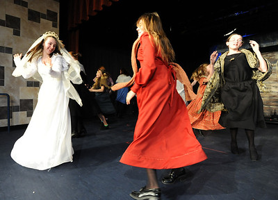 Kali Zack, left, Tzeitel, dances with villagers after the wedding during rehearsal of  Broomfield Heights Middle School production of Fiddler on the Roof on Thursday.  March 15,  2012  staff photo/ David R. Jennings