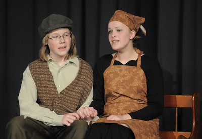 Austin Baltzer, left, Tevya, sings with Hannah Tripp, Golde, during rehearsal of  Broomfield Heights Middle School production of Fiddler on the Roof on Thursday.  March 15,  2012  staff photo/ David R. Jennings