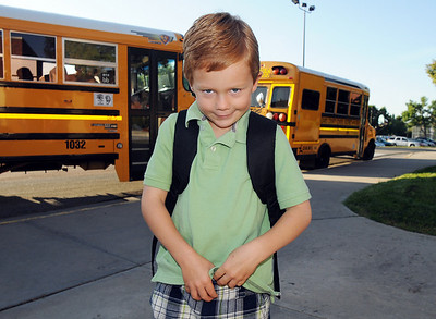 Davis Baun smiles as he poses for a picture on the first day of school at Mountain View Elementary School on Wednesday.   August 19, 2009 staff photo/David R. Jennings