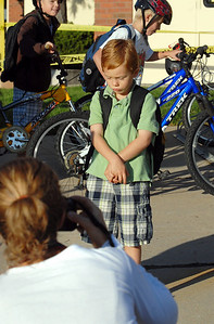 Davis Baun, 5, poses for a picture by his mother Kim outside of the school on the first day of school at Mountain View Elementary School on Wednesday.   August 19, 2009 staff photo/David R. Jennings