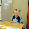 Ryan Woelfel, 5, waits at his desk for his first grade class to begin on the first day of school at Mountain View Elementary School on Wednesday. <br /> <br /> August 19, 2009<br /> staff photo/David R. Jennings