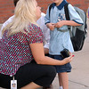 Ryan Woelfel, 5, right, waits with his parents Beverley and Jon Woelfel for class to start on the first day of school at Mountain View Elementary School on Wednesday. <br /> <br /> August 19, 2009<br /> staff photo/David R. Jennings