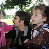 Duane Hess talks to his twin daughters Sarah, left, and Theresa, 6, outside of the school before going to their first grade class on the first day of school at Mountain View Elementary School on Wednesday. <br /> <br /> August 19, 2009<br /> staff photo/David R. Jennings