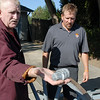 Skip Stansbury, left, and his son Dan show a bullet used for the cannons they've made at Skip's home in Westlake.<br /> <br /> Sept. 26, 2009<br /> Staff photo/David R. Jennings