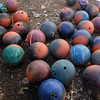 Bowling balls in the yard of Skip Stansbury's home in Westlake, which he uses for firing from one of his mortars at the Long's Peak Scottish Irish Highland Festival<br /> Sept. 26, 2009<br /> Staff photo/David R. Jennings