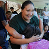 Felicia Mata, an Emerald alumni, hugs her niece Nayeli Cordova as they wait for kindergarten classes to begin on the first day of school at Emerald Elementary School on Thursday.<br /> <br /> August 20, 2009<br /> staff photo/David R. Jennings