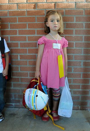 Emma Browning waits for her kindergarten class to begin on the first day of school at Emerald Elementary School on Thursday.<br /> <br /> August 20, 2009<br /> staff photo/David R. Jennings