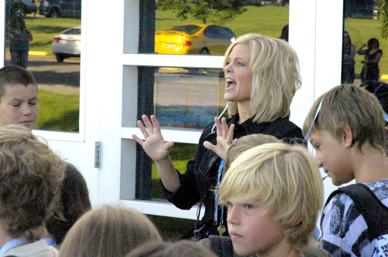 Principal Jessica Fiedler talks to the students outside Students before Westlake Middle School's freshman orientation 08/18/10. By Dylan Otto Krider