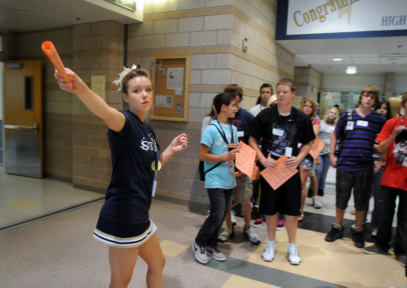 Alex van de Boogaard, left, gives a tour of the school to freshman on orientation day at Legacy High School on Wednesday . <br /> August 18, 2010<br /> staff photo/David R. Jennings
