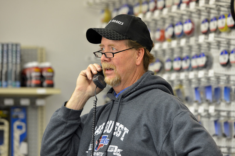 Lee Jenssen, manager of the Carquest auto parts store, on the same block as East of Sweden, knew professionally Mary McGrath an employee of East of Sweden who was shot a killed on Friday.<br /> October 12, 2012<br /> staff photo/ David R. Jennings