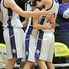Holy Family's Kassandra Johannsen, left, Sierra Williamson, Megan Chavez and Carolina Gutierrez celebrate their victory over  Eaton in the 3A state championship game at Moby Arena in Ft. Collins  on Saturday.<br /> March 12, 2011<br />  staff photo/David R. Jennings