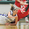 Stephanie Giltner,  Holy Family tries to reach the ball after colliding with Beth Cheney, Eaton during the 3A state championship game at Moby Arena in Ft. Collins  on Saturday.<br /> March 12, 2011<br />  staff photo/David R. Jennings