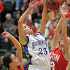 Holy Family's Carolina Gutierrez shoots the ball against Eaton during the 3A state championship game at Moby Arena in Ft. Collins  on Saturday.<br /> March 12, 2011<br />  staff photo/David R. Jennings
