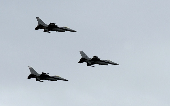 Colorado Air National Guard F-16 fighters flew by during Broomfield's Great American Picnic at County Commons Park.<br /> <br /> July 4, 2009<br /> staff photo/David Jennings