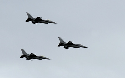 Colorado Air National Guard F-16 fighters flew by during Broomfield's Great American Picnic at County Commons Park.  July 4, 2009 staff photo/David Jennings