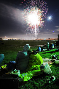 Spectators watch he fireworks display from Broomfield County Commons Park as the finale to Broomfield's Great American Picnic.  July 4, 2009 staff photo/David Jennings