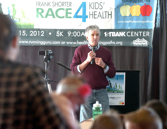 Frank Shorter talks during the kick-off conference for the Frank Shorter's Race 4 Kids' Health fundraiser for Healthy Learning Paths at the 1st BankCenter on Thursday.<br /> February 2, 2012<br /> staff photo/ David R. Jennings