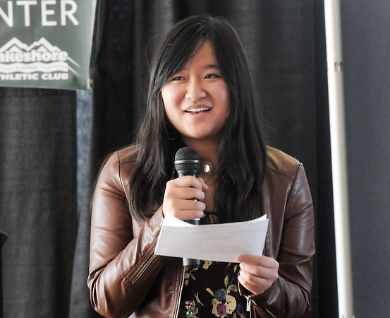 Legacy High junior Nicole Ngyen, 17, talks about her involvement in  the Frank Shorter's Race 4 Kids' Health fundraiser for Healthy Learning Paths during the kick-off conference at the 1st BankCenter on Thursday.<br /> February 2, 2012<br /> staff photo/ David R. Jennings