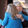 Frank Shorter greets Dr. Chris Marchioni before the kick-off conference for the Frank Shorter's Race 4 Kids' Health fundraiser for Healthy Learning Paths at the 1st BankCenter on Thursday.<br /> February 2, 2012<br /> staff photo/ David R. Jennings