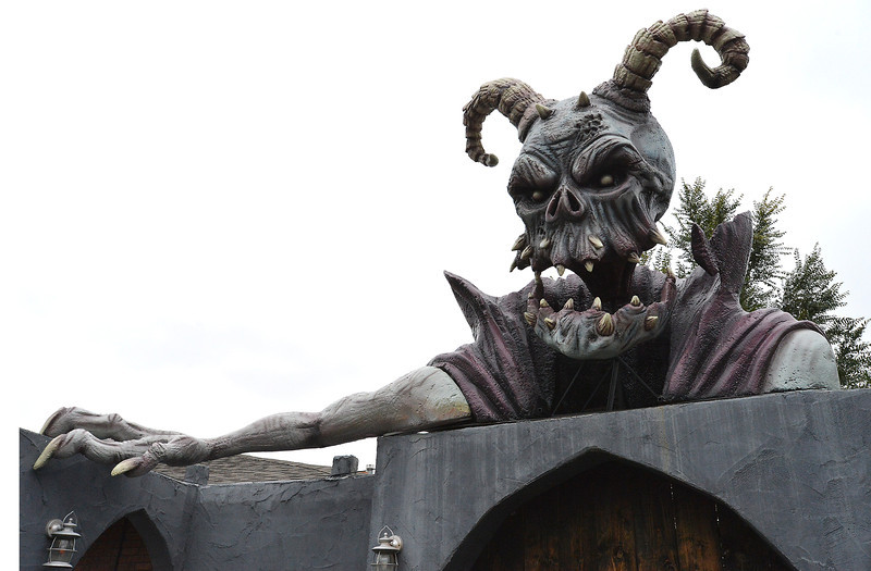 Frightmare Compound added a large sculpture for the entrance to the haunted house at 108th and Old Wadsworth opens on Friday night.<br /> <br /> October 5, 2012<br /> staff photo/ David R. Jennings