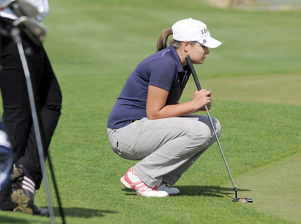 Legacy's Morgan Stacks studies the 5th hole during the Front Range League golf tournament on Thursday at the Broadlands Golf Course.<br /> <br /> <br /> April 12, 2012 <br /> staff photo/ David R. Jennings