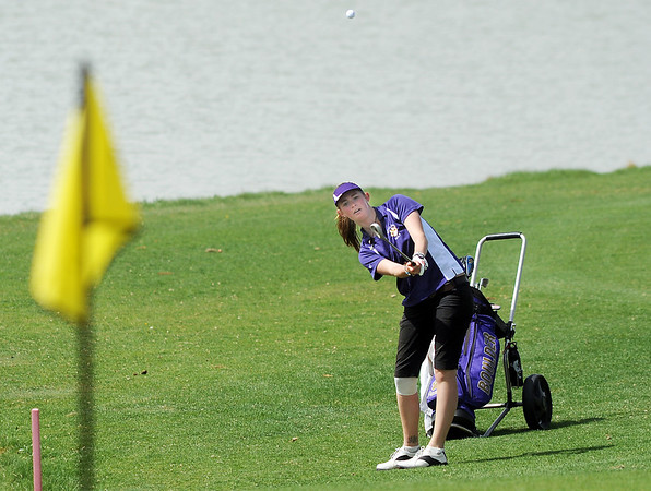 Boulder's Lucille Van Vooren hits the ball to the 8th green during the Front Range League golf tournament on Thursday at the Broadlands Golf Course.<br /> <br /> <br /> April 12, 2012 <br /> staff photo/ David R. Jennings