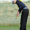 Legacy's Sarah Hankins putts on the 3rd green during the Front Range League golf tournament on Thursday at the Broadlands Golf Course.<br /> <br /> <br /> April 12, 2012 <br /> staff photo/ David R. Jennings