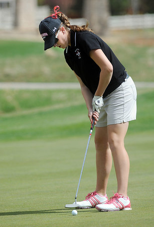 Fairview's Megan McCambridge putts on the 8th hole during the Front Range League golf tournament on Thursday at the Broadlands Golf Course.<br /> <br /> <br /> April 12, 2012 <br /> staff photo/ David R. Jennings