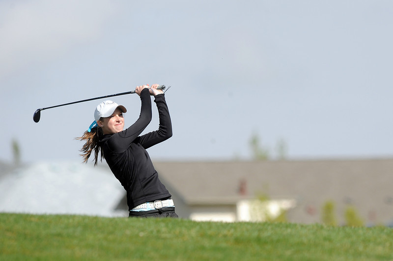 Fairview's Jordan Sunset hits the ball on the 5th hole during the Front Range League golf tournament on Thursday at the Broadlands Golf Course.<br /> <br /> <br /> April 12, 2012 <br /> staff photo/ David R. Jennings