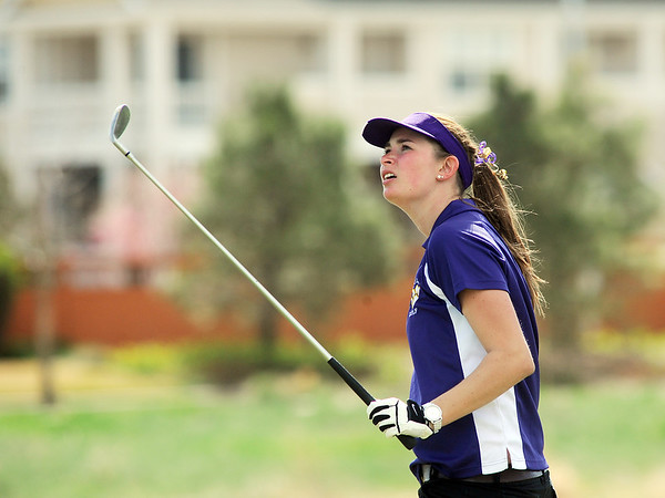 Boulder's Lucille Van Vooren watches the ball after teeing off of the 6th hole during the Front Range League golf tournament on Thursday at the Broadlands Golf Course.<br /> <br /> <br /> April 12, 2012 <br /> staff photo/ David R. Jennings