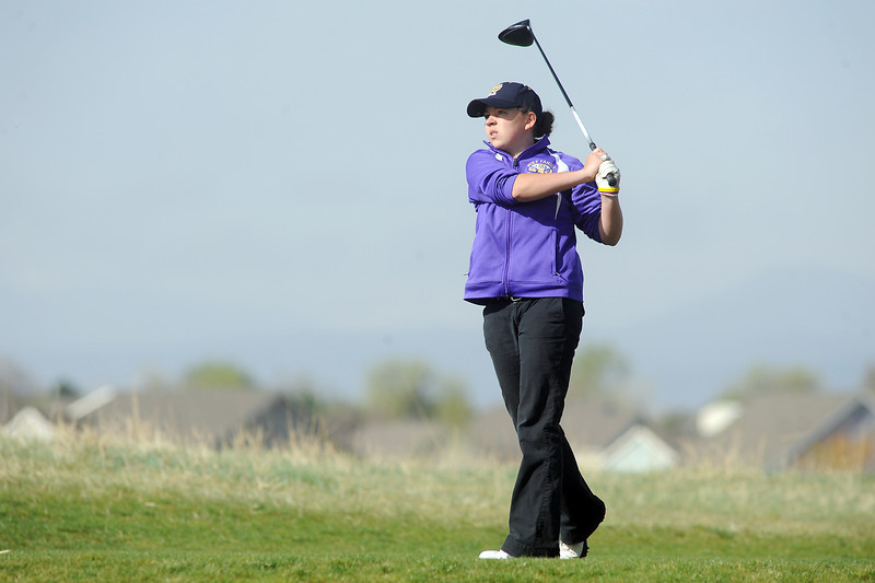Boulder's Alex Jaros tees off of the 4th hole during the Front Range League golf tournament on Thursday at the Broadlands Golf Course.<br /> <br /> <br /> April 12, 2012 <br /> staff photo/ David R. Jennings