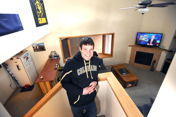"Keegan Pilling looks over his living quarters in his Gold Run apartment in Boulder.<br /> For a video of Pilling showing off his nice living quarters go to  <a href=""http://www.coloradodaily.com"">http://www.coloradodaily.com</a><br /> Photo by Paul Aiken"