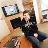 "Keegan Pilling with a flat screen TV, gas fireplace and deck in his Gold Run apartment in Boulder.<br /> For a video of Pilling showing off his nice living quarters go to  <a href=""http://www.coloradodaily.com"">http://www.coloradodaily.com</a><br /> Photo by Paul Aiken"