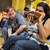 Kyle Cecil, left, jokes with Ashleigh Wagner during Game Night at the Derda Recreation Center on Saturday.<br /> January 19, 2013<br /> staff photo/ David R. Jennings