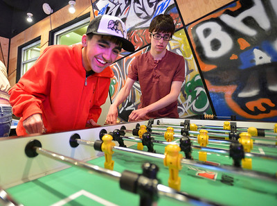 Cole Campbell, left, and Anthony Traver team up to play Foosball game during Game Night at the Derda Recreation Center on Saturday. January 19, 2013 staff photo/ David R. Jennings