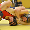 Fairview's Cito Balsells, left, wrestles Platte Valley's Drew Shaw in the185  lb. championship match during the Gary Daum Classic, Boulder Valley Invitational Wrestling Tournament at Frederick High School on Saturday.<br /> January 12, 2013<br /> staff photo/ David R. Jennings