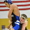 Erie's Ladd Bunker, right,  wrestles  Longmont's Fernando Ramos Vega in the 160  lb. championship match during the Gary Daum Classic, Boulder Valley Invitational Wrestling Tournament at Frederick High School on Saturday.<br /> January 12, 2013<br /> staff photo/ David R. Jennings