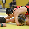 Fairview's Cito Balsells, left, nearly pins Platte Valley's Drew Shaw in the185  lb. championship match during the Gary Daum Classic, Boulder Valley Invitational Wrestling Tournament at Frederick High School on Saturday.<br /> January 12, 2013<br /> staff photo/ David R. Jennings