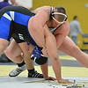 Longmont's Chris Palacios, left, wrestles Golden's Dakota Gulley in the 285  lb. championship match during the Gary Daum Classic, Boulder Valley Invitational Wrestling Tournament at Frederick High School on Saturday.<br /> January 12, 2013<br /> staff photo/ David R. Jennings