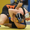 Erie's Ladd Bunker, left,  wrestles  Longmont's Fernando Ramos Vega in the 160  lb. championship match during the Gary Daum Classic, Boulder Valley Invitational Wrestling Tournament at Frederick High School on Saturday.<br /> January 12, 2013<br /> staff photo/ David R. Jennings