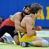 Fairview's Melvin Gutierrez, left, wrestles Boulder's Martin Selby in the 138lb. championship match during the Gary Daum Classic, Boulder Valley Invitational Wrestling Tournament at Frederick High School on Saturday.<br /> January 12, 2013<br /> staff photo/ David R. Jennings