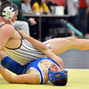 Longmont's Connor Stengel, right,  wrestles Golden's Brad Blackstock in the 170  lb. championship match during the Gary Daum Classic, Boulder Valley Invitational Wrestling Tournament at Frederick High School on Saturday.<br /> January 12, 2013<br /> staff photo/ David R. Jennings