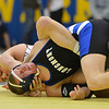 Longmont's Drake Greeott, right, wrestlesGolden's Devin Rothrock in the 152  lb. championship match during the Gary Daum Classic, Boulder Valley Invitational Wrestling Tournament at Frederick High School on Saturday.<br /> January 12, 2013<br /> staff photo/ David R. Jennings